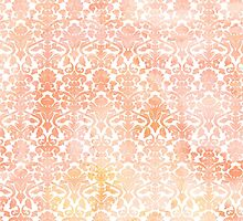 Peach white damask water color pattern by dreamingmind