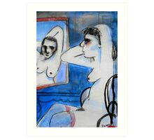 nude with mirror Art Print