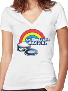 Magically Delicious | Funny Unicorn Shirt Women's Fitted V-Neck T-Shirt