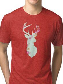 Floral Deer Head Tri-blend T-Shirt