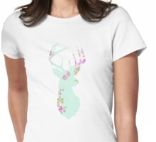 Floral Deer Head Womens Fitted T-Shirt