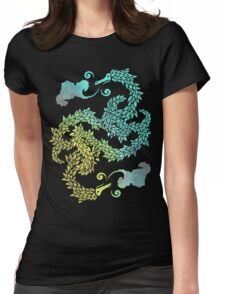 Dragons Blow | Chinese Dragon Yin Yang Womens Fitted T-Shirt