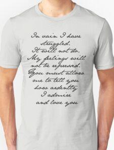 PRIDE AND PREJUDICE JANE AUSTEN MR. DARCY ENGAGEMENT SPEECH  T-Shirt