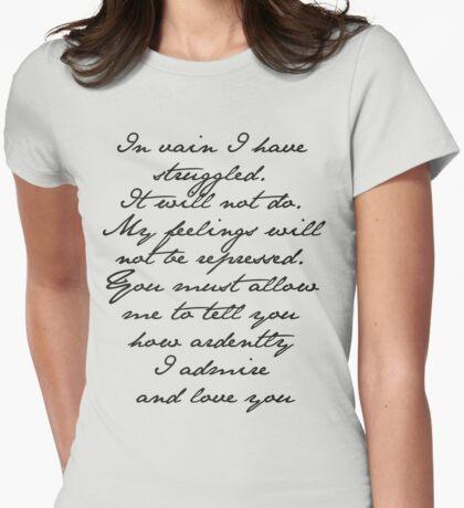 PRIDE AND PREJUDICE JANE AUSTEN MR. DARCY ENGAGEMENT SPEECH  Womens Fitted T-Shirt