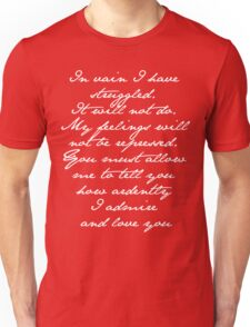 PRIDE AND PREJUDICE JANE AUSTEN MR. DARCY ENGAGEMENT SPEECH  Unisex T-Shirt