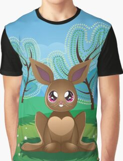 Brown Rabbit on Lawn 2 Graphic T-Shirt