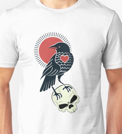 classic retro tattoo, Raven on a skull Unisex T-Shirt
