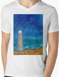 Seascape with Lighthouse Mens V-Neck T-Shirt