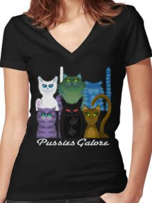 PUSSIES GALORE Women's Fitted V-Neck T-Shirt