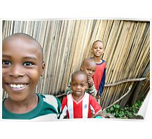 Playful boys in a Tanzanian village Poster