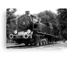 Locomotive stands on the station ... Canvas Print
