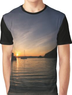 Sunset over Polkerris, South Cornwall Graphic T-Shirt