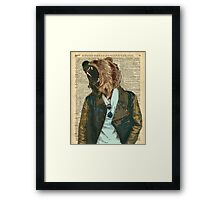 Dictionary Art HIPSTER Grizzly Bear Vintage Geeky Framed Print
