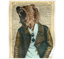 Dictionary Art HIPSTER Grizzly Bear Vintage Geeky Poster