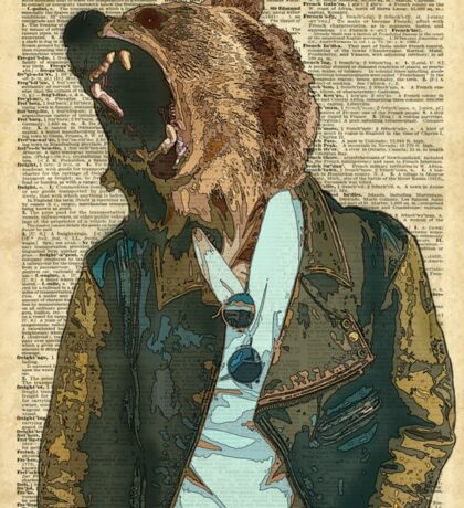 Dictionary Art HIPSTER Grizzly Bear Vintage Geeky Sticker