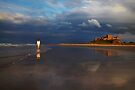 Bamburgh Beach at Sunset Northumberland UK by Andrew Bret Wallis