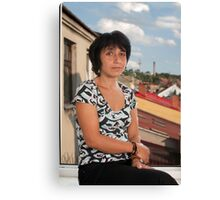 Woman in window Canvas Print