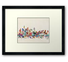 sydney skyline watercolor Framed Print