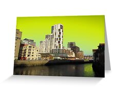 Ipswich Waterfront, Dayglow Green Sky Greeting Card
