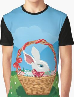 Easter Bunny with Eggs in the Basket 3 Graphic T-Shirt