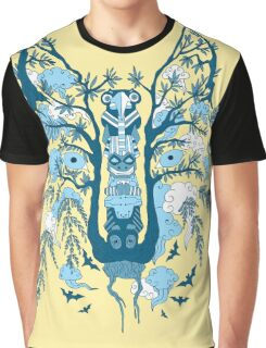 Psychedelic plants and totem wolf Graphic T-Shirt