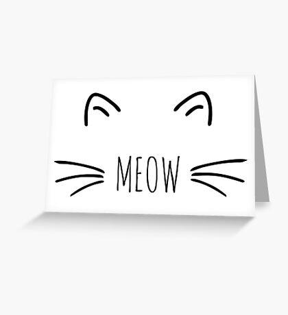 Meow Cute Cat black Greeting Card