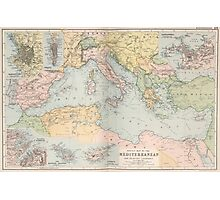 Vintage Map of The Mediterranean Sea (1891) Photographic Print