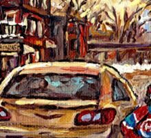 WINTER STREETS OF POINTE ST. CHARLES CANADIAN ART FOR SALE Sticker
