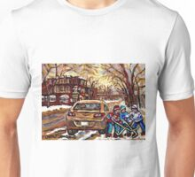 WINTER STREETS OF POINTE ST. CHARLES CANADIAN ART FOR SALE Unisex T-Shirt