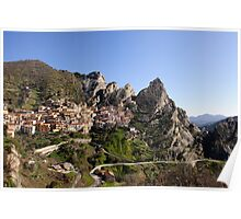 Early morning sunshine wakes Castlemezzano Poster
