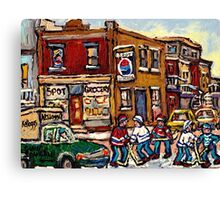 MONTREAL MEMORIES THE SPOT GROCERY STORE HOCKEY ART CANADIAN PAINTINGS Canvas Print