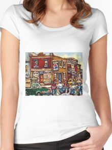 MONTREAL MEMORIES THE SPOT GROCERY STORE HOCKEY ART CANADIAN PAINTINGS Women's Fitted Scoop T-Shirt