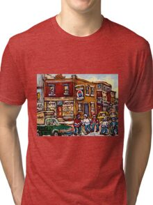 MONTREAL MEMORIES THE SPOT GROCERY STORE HOCKEY ART CANADIAN PAINTINGS Tri-blend T-Shirt