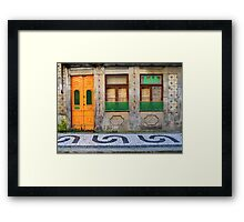 Orange and green door in Porto, Portugal Framed Print