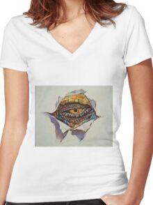 Dragon Eye Women's Fitted V-Neck T-Shirt