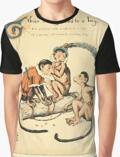 The Buckle My Shoe Picture Book by Walter Crane 1910 41 - Three Monkeys Tied to a Log Graphic T-Shirt