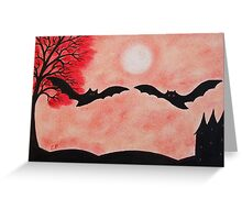 Bats Silhouette: Two Bats with red Tree and Moon Greeting Card
