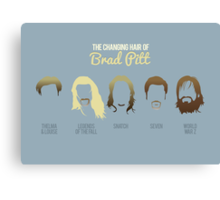 The changing hair of Brad Pitt Canvas Print