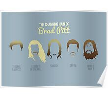 The changing hair of Brad Pitt Poster