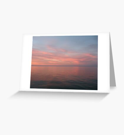 Pink Clouds over Lake Michigan  Greeting Card