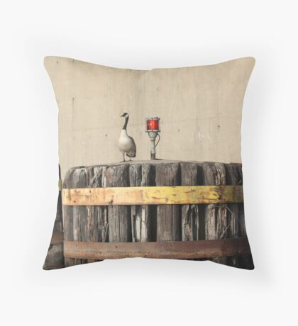 Goose on Barge Bumper Throw Pillow