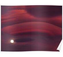 Lenticular Clouds and Moon Poster