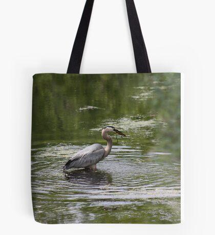 Great Blue Heron with Creek Chub Tote Bag