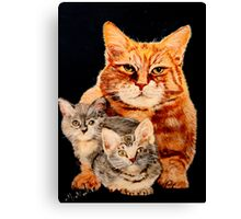 Mom Cat and Two Kittens Canvas Print
