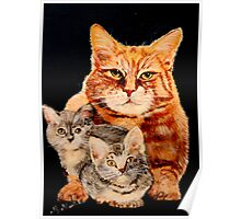 Mom Cat and Two Kittens Poster