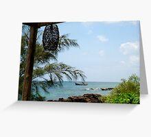Sea, sky, boat, rocks, lantern Greeting Card