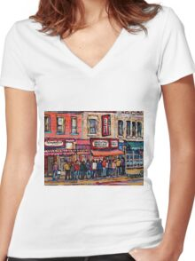 SCHWARTZ'S DELI MONTREAL SMOKED MEAT CANADIAN ART Women's Fitted V-Neck T-Shirt