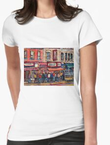 SCHWARTZ'S DELI MONTREAL SMOKED MEAT CANADIAN ART Womens Fitted T-Shirt