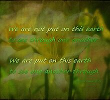 We are not put on this earth by Vickie Emms