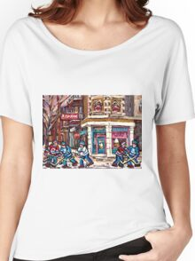 MONTREAL MEMORIES ST. AUBIN ICE CREAM SHOP ORIGINAL CANADIAN ART Women's Relaxed Fit T-Shirt
